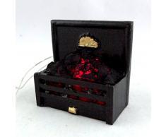Accesorio De Chimenea Miniatura Casa De Muñecas Luz Brillante Fuego De Carbón en parrilla