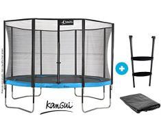 Kangui - Pack Cama elástica de jardín diametro 426 cm con red de seguridad + esalera + funda de protección - Juego de aire libre certificado CE - Trampolín Punchi ATOLL 430