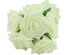 10 rosas artificiales de espuma marca Westeng para floreros, ramos y para decoración del hogar, bodas, cumpleaños, jardines, etc.