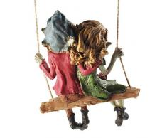 Fiesta Studios Pixie Pareja Colgante Swing, Escultura mágico Misterio jardín decoración Figuras Elfo y los niños de Hadas, Altura 12 cm