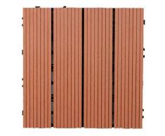 30 cm x 30 cm madera - Compuestos de plástico entrelazados para suelos empalmados, azulejos de WPC para jardín, patio, balcón, azotea, suelos de baldosas., rojo