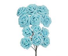 Ramo de 6 rosas grandes de espuma - No destiñen -Seda artificial de alta calidad - Para novias, azul celeste, 1 Bunch Large