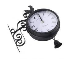 Reloj Colgante De Hierro Forjado Para Jardín Reloj De Pared De Doble Cara De Moda Al Aire Libre Reloj De Pared De Metal Innovador Con Forma De Campana De Gallo