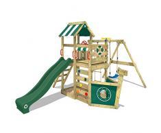 WICKEY Parque infantil de madera SeaFlyer con columpio y tobogán verde, Casa de juegos de jardín con arenero y escalera para niños