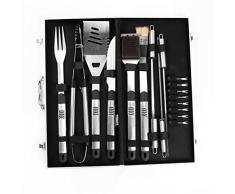 Joyeee® Cubertería de 18 piezas para barbacoa de acero inoxidable para barbacoa Cubiertos en maletín de aluminio