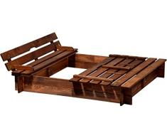dobar 94360FSC - Sandbox con tapa con banco de madera, tamaño del banco arenero cuadrado XL con tapa, 118 x 118 x 20 cm, madera FSC, marrón