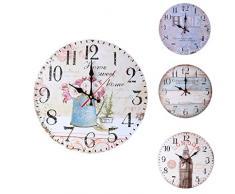 ZJL220 Home Garden Room Decoración Antigua Relojes de Pared Decoración Reloj Shabby Chic Cocina