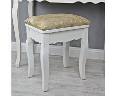 Colour blanco y dorado taburete de madera con diseño de flores de tocador y taburete de madera de diseño de flores