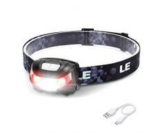 LE Linterna frontal USB recargable, 5 Modos de luz, con luz roja, Regulable y ligero, Cable incluido