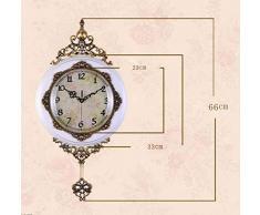 nuoyang Reloj De Pared,Salón Europeo De Reloj De Pared Reloj De Pared Reloj De Cuarzo De Madera Maciza Mute Grande Jardín Reloj Retro,A-B