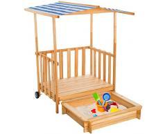 TecTake Arenero con techo para niños Veranda Madera Protección contra el Sol - disponible en diferentes colores - (Azul   No. 401805)