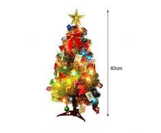 lulalula Árbol de Navidad de 24 Pulgadas con Luces Mesa, árbol de Navidad Artificial en Miniatura con Adornos, Las Mejores Decoraciones de Navidad, Verde, A3-24inch/60cm