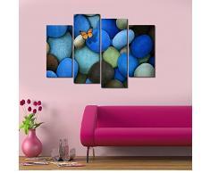 MOXO oscuro azul lienzo de adoquín piedra preciosa mariposa en pintura lienzo 4 pcs para decoración del hogar