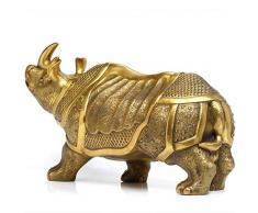 DuDu Rinoceronte Escultura Estatua De Cobre, Escultura De Bronce Inicio Interior Sala De Estar Oficina Decoración Animal Estatua Artesanía,Brass