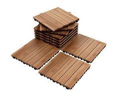 Kimmyer 12x 12 10 Paquetes Baldosas de Pisos de Madera Maciza Que se entrelazan, Pavimentadoras de Patio y Cubiertas de Material Compuesto, para Exteriores e Interiores