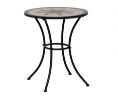 Siena Garden 875342 Stella - Mesa (acero y cerámica, 60 x 60 cm), diseño de mosaico, color negro