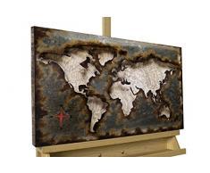 Kunstloft Extravagante Relieve de Pared de Metal We Stay United 60x40x4cm | Decoración XXL Escultura | Mapa del Mundo Tierra Continente marrón | Cuadro Hecho a Mano Imagen Mural de Arte Moderno