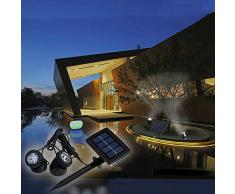 Lixada Foco Lámparas Bajo el Agua Funciona con Energía Solar Sensor de Luz de Super Brillante de 12 LEDs Iluminación de Paisaje para Jardín Piscina Yard Al Aire Libre