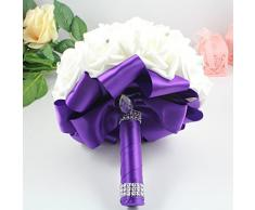 Cosanter boda decoración rosa para novia hecho a mano con piedras artificiales ramo de rosas