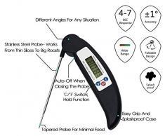 AVAX DT-X - termómetro de cocina Digital LCD plegable sonda de vino, comida, carne, carne, Turquía, barbacoa, Yerba Mate, leche, azúcar, etc. - Rango de temperatura: - 50C para tareas con otros / - 58F al 572F - negro