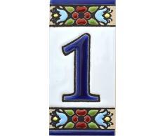 ART ESCUDELLERS Números casa. Numeros y Letras en azulejo Ceramica policromada, Pintados a Mano técnica Cuerda Seca. Nombres y direcciones. Diseño Flores Mini 7,3 cm x 3,5 cm. (Numero UNO 1)