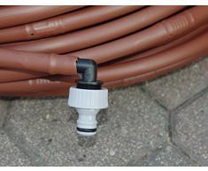 Tubo de 16 mm con orificios para riego por goteo, autocompensante, 100 m, con conexión al grifo. Color marrón.