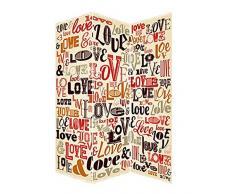 Biombo Separador de ambientes, Economico, Heart in Love, Fotoimpresion, para el Salon o el Dormitorio. 180x120 cm.
