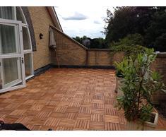 Terrazas azulejo de madera de acacia entrelazados Deck Azulejos Baldosas de patio balcón techo Jardín Madera de 30 cm x 30 cm x 2,5 cm), diseño cuadrado