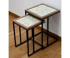 DRW Mesas Nido Set de 2 de Metal y Base Madera Flores talladas Crema 41x62x41 cm y 35x54x35 cm