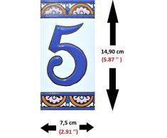 """Letreros con numeros y letras en azulejo de ceramica policromada, pintados a mano en técnica cuerda seca para placas con nombres, direcciones y señaléctica. Texto personalizable. Diseño ARCO GRANDE 14,9 cm x 7,4 cm. (NUMERO CINCO """"5"""")"""