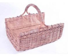 Madera Cesta/chimenea cesta de Rattan rectangular con asa y extraíble yute ausgeschlagen gris