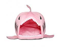Yihya Adorable Tiburón Forma Suave Calentar Interior Mascota Puppy Cueva Felpa Perros Casa Choza Cachorro Gato Gatito Gato Cama Basket con Desmontable Nido Pad Mat - Rosa / Tamaño Pequeña: 42*40cm
