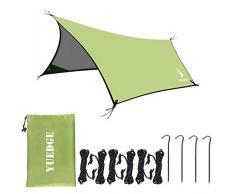 YUEDGE Lona Rainfly Portátil Ligero Impermeable Tarpaulin Cubierta de la Lluvia Tienda de Campaña Parasol Refugio para Camping Senderismo Playa Picnic (XL)