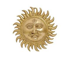 SKEYAA - Escultura de Sol de latón para Colgar en la Pared del hogar y la Oficina, decoración de Interiores y Vastu Remedy. Tamaño: 25,4 x 24,1 cm, Peso: 1,62 kg