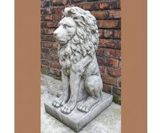 Grande orgulloso León Estatua - Escultura de mano Piedra adorno de jardín/