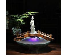 Fuente de Mesa,Fuente Zen de Mesa Bella Fuente de Agua Fuente de la Sala de Estar Fuente de Mesa con luz Decorativo de Mesa Regalos de Empresa-Blanco 14pulgada