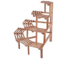 Estante esquinero de madera de pino de 4 niveles para macetas y plantas (herramienta para plantar libremente), Natural Wood