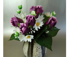 Rosas Artificiales de Seda de color de Malva y las Margaritas Blancas Arbusto