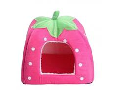 V-SOL Cama / Casa Para Perro Gato Mascotas-Diseño Fresa Talla M Rosa