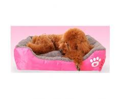 Yihya Lavable Lindo Cuadrado Rosa Suave Calentar Mascotas Pet Perros Casa Choza Cachorro Gato Cama Doggy Doghouse Cojín Basket (Tamaño Mediano: 58 * 45 * 14cm)