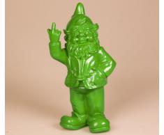 Figura enanito de jardín travieso sacando el dedo - verde lima - 15 x 12 x 32 cm