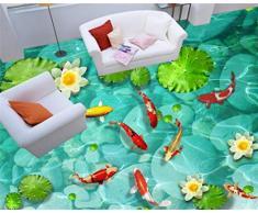 Yosot Papel pintado papel tapiz 3d suelo tridimensional adoquín lotus nueve peces mapa piso pintura en pasta suelo murales -300cmx210cm
