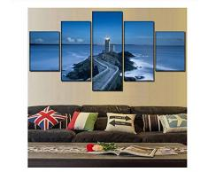 NIUYHFU Camino de Piedra del adoquín de 5 Pedazos Que Lleva al Faro Imagen Modular Impresión de la Lona Pintura del mar Arte de la Pared Decorativo del hogar