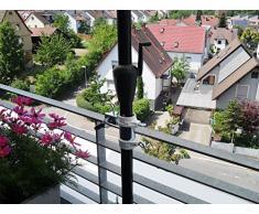 Soporte de balcón para sombrilla de 25.5 hasta Ø 40 mm - 2 pcs - balcón soporte para paraguas - Grande - Para 25-40 mm de diámetro - distancia de la sombrilla para balcón barandilla para al aire libre o en interiores con correas