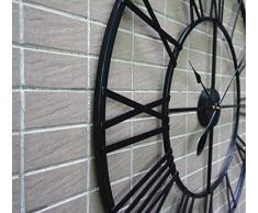 Relojes de pared Estilo europeo 3D Metal grande Números romanos decorativos Esqueleto Reloj negro silencioso para cocina, dormitorio, jardín, sala de estar, estudio, oficina ( Tamaño : 80cm/34in )