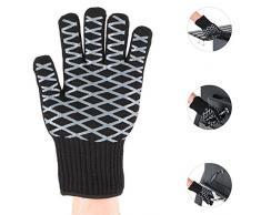 oneConcept Meatlove XL Pareja de guantes térmicos 350° C resistentes al calor (Protección quemaduras, detalles silicona para excelente agarre, ideal barbacoa o parrilla, chimenea, exterior 100% aramida, interior 65% algodón