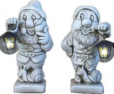 DEGARDEN Figuras Pareja de Enanos con Farol de hormigón-Piedra para jardín o Exterior 46cm.