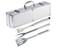 Ultranatura 200100000075 - Utensilios de acero inoxidable para barbacoa, 3 piezas, en maletín de aluminio