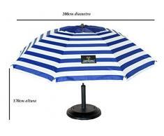 CREVICOSTA Sombrilla Sombrilla con Espiral, Aluminio Reforzado, diseño Azul Marinero, 200 cm de diámetro de Parasol