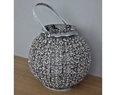 Farol portavelas bola de metal linterna de metal diseño de portavelas con efecto plateado metalizado Orient